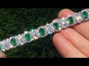 $80 000 00 Estate Natural Colombian Emerald Diamond 18k White Gold Vintage Tennis Bracelet A141506