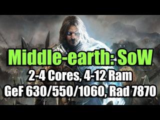 Middle-earth: Shadow of War (Codex) на слабом ПК (2-4 Cores, 4-12 Ram, GeF 630/550/1060, Rad 7870)