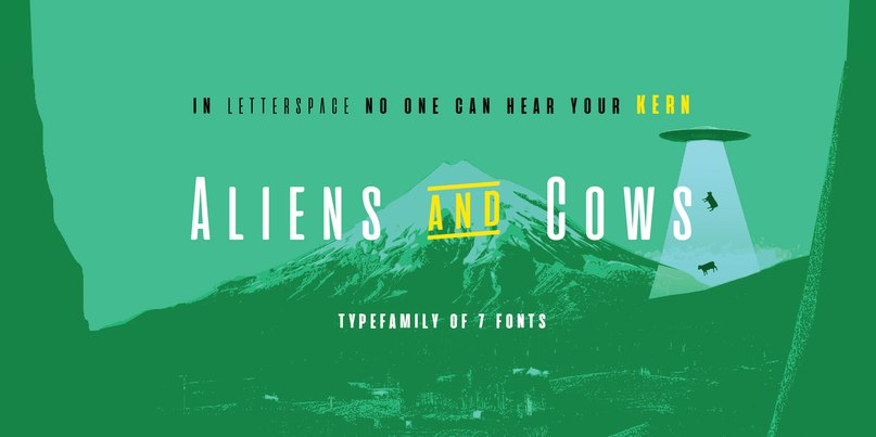 Download Aliens and Cows font (typeface)