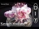 DIY Easy tutorial Headband communion Kanzashi flower pink and white