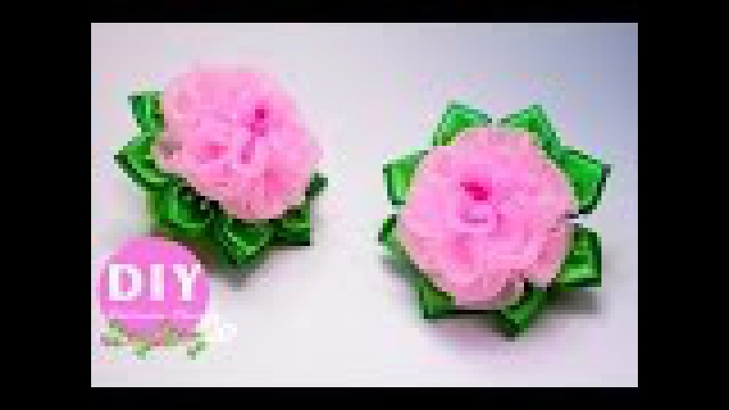 DIY.Flower scrunchy.Roses Organza.The Flower DIY Tutorial