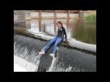 Girl swims in river