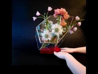 Цветочная композиция (пионы скабиозы крокусы и незабудки) во флорариуме. Полимерная глина!