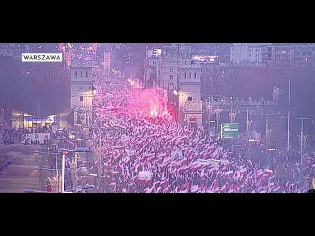 Marsz Niepodległości Warszawa 11 11 2017 lepsza jakość HD