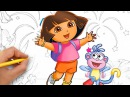 Coloring Dora Monkey Boots Dora the Explorer Coloring Pages Video for Kids