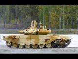 T-90MS Russian main battle tanks take part in a military training.T-90A tank firing its main gun