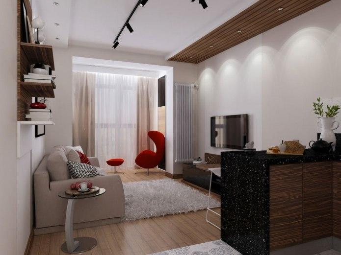Современной дизайн комнаты-студии 29 кв.м для девушки