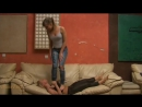 Lesbian Barefoot Trample on a soft Belly and Chest -