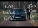 E30 Taifun Grill and Headlights Installation. Girl can do it. (Установка квадратных фар на Е30)
