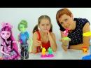 МОНСТР ХАЙ и Мороженое из Пластилина Плей До. Дракулаура и Портер Гейс. Игры для девочек