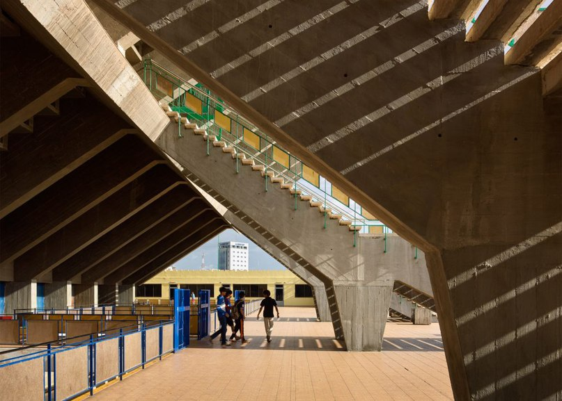 Modernist stadium in Cambodia captured in new
