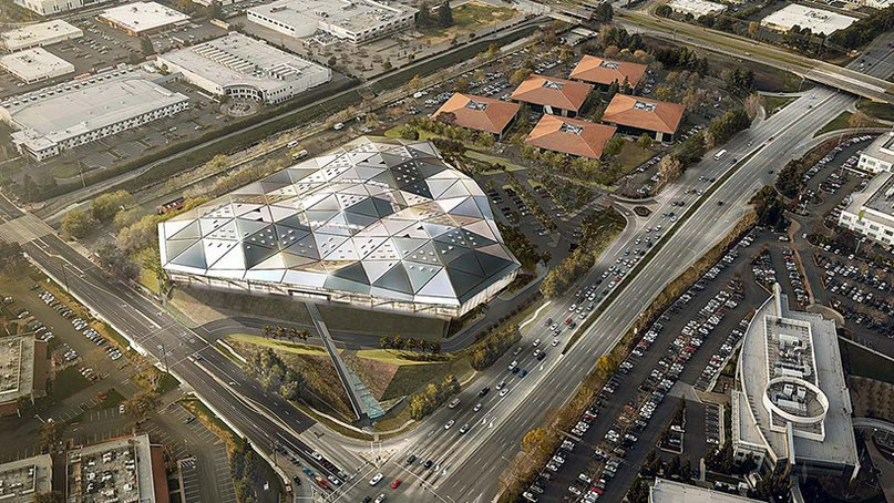 rendering of NVIDIA's new headquarters, produced using