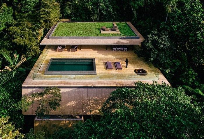 На крутом зеленом склоне, среди бразильских джунглей