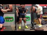 Бретт Гиббс до 83 кг приседает 345 кг в однослойной экипировке