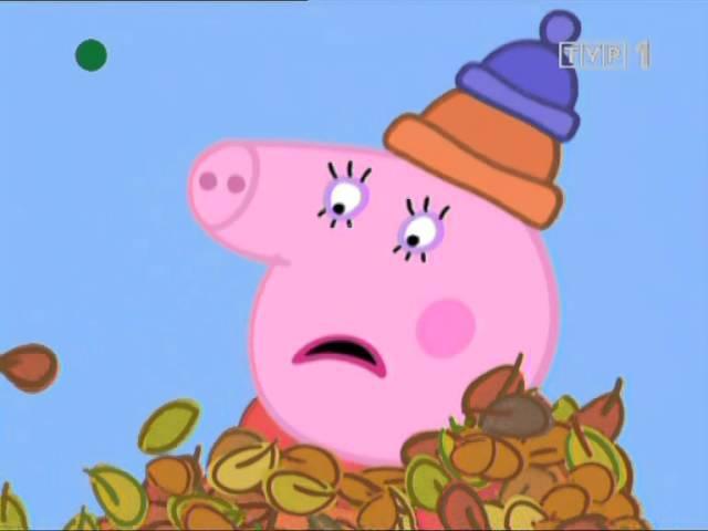 Swinka Peppa Wietrzny jesienny dzien