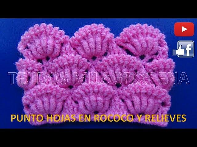 Punto tejido a crochet Hojas en Rococo y relieves para cobijas y mantitas de bebe