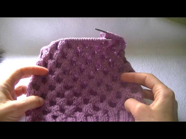 Вязание шапки узором соты.Knitting hats pattern cell.