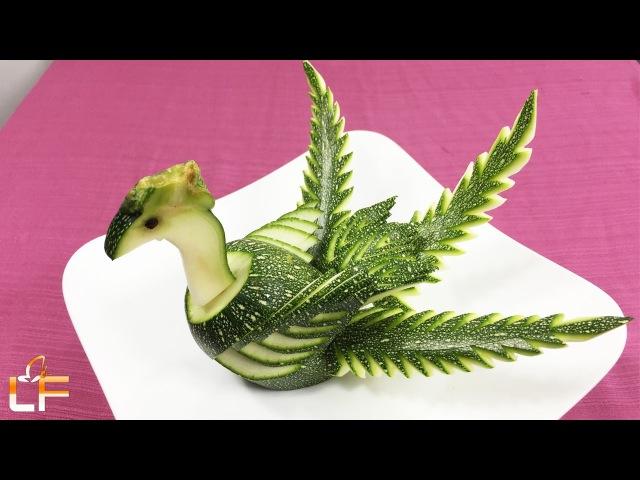 How To Make Zucchini Peacock Garnish - Zucchini Peacock Carving Designs