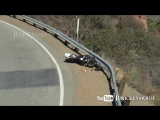Motorcycle Slides 80 Yards, Crashes Into Guardrail