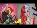Девушка объединяет персонажей мультфильмов Дисней в один портрет