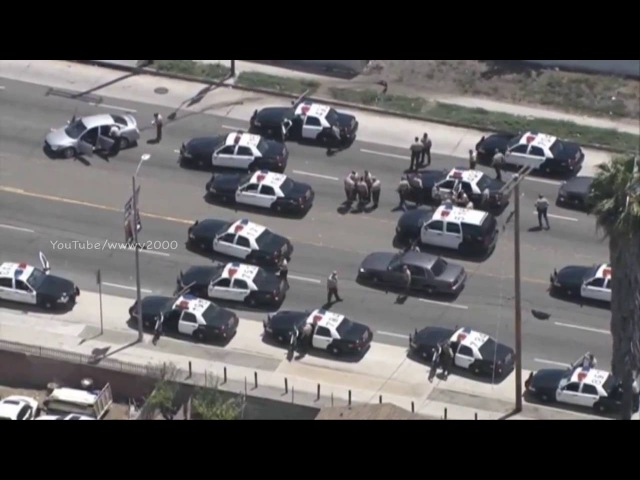 Los Angeles Police Car Chase: 16 Cars 50 Cops .vs 15 Years Old Girl