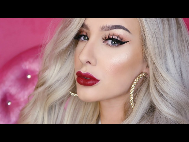 Glam Cut crease / Red lips Makeup tutorial