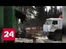 Застрявшего в бытовке медведя вытянули КамАЗом - Россия 24