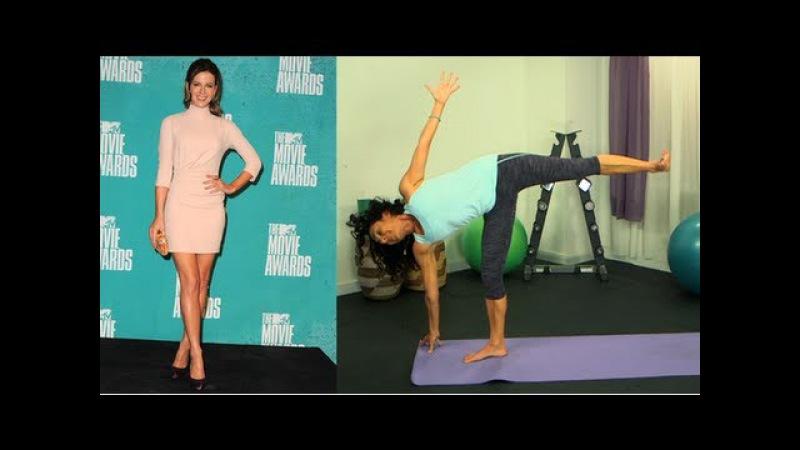 Тренировка Сексуальные ноги Кейт Бэкинсейл - Позы йоги - Получи фигуру. Kate Beckinsale Sexy Legs Workout, Yoga Poses, Get the Bod