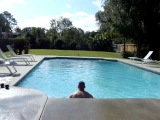Colt Colletti jumps out of pool backwards