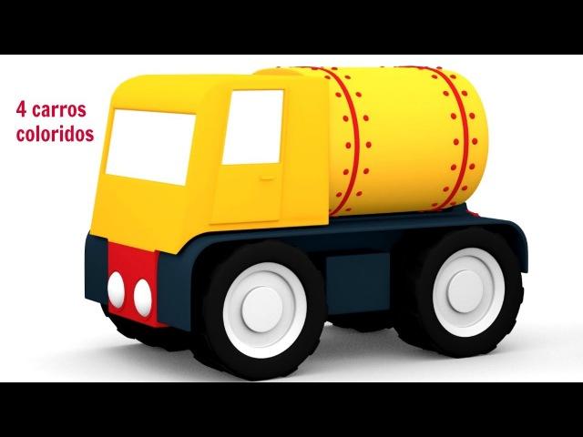 🚗 🚗 4 CARROS coloridos🚗 🚗 Carros construtores. Сaminhão tanque de combustível. desenhoscarros