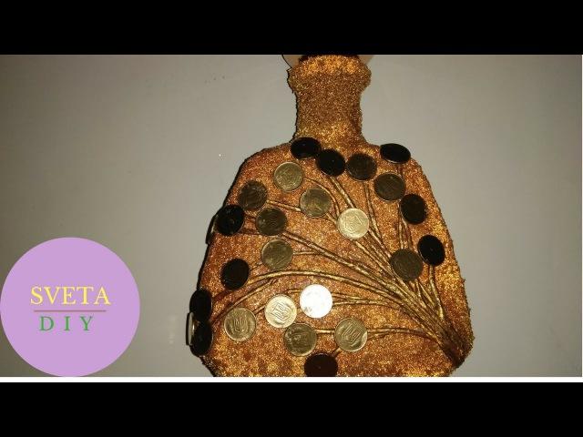 Декор бутылки денежная веточка своими руками Как декорировать украсить бутылку монетами.
