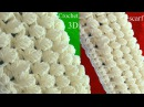 Bufanda a Crochet en punto 3D de hojas reversibles tejido tallermanualperu