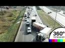 На трассе рядом с Домодедово перевернулась фура с арбузами