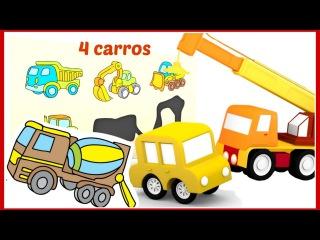 🚗🚗4 carros coloridos🚗🚗 O trem mágico traz as peças do quebra-cabeças! Сaminhões desenhos