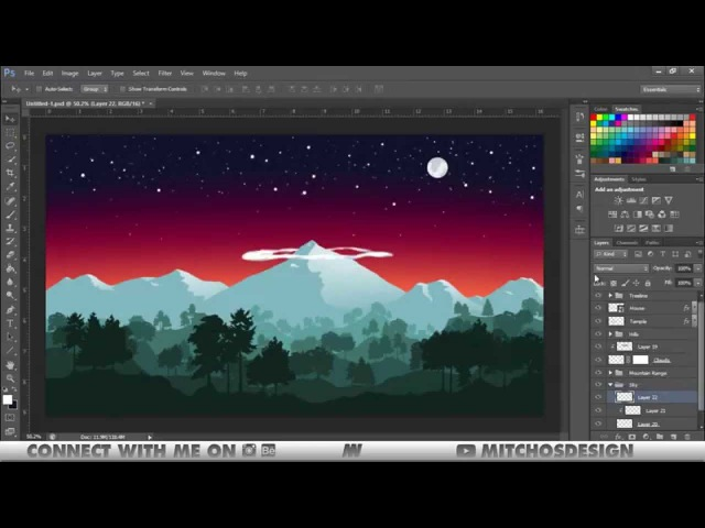 NEPAL | Flat Landscape Speed Art (Photoshop