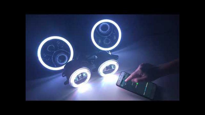 New design 7inch RGB led headlight 4inch RGB led fog light for Jeep wrangler jk