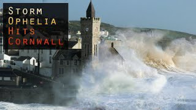 Storm Ophelia hits Cornwall - 60MPH winds and huge waves