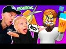ПОБЕГ от ЗЛОГО ПАРИКМАХЕРА ROBLOX детский летсплей от FFGTV Милана и папа играют Мульт игру РОБЛОКС