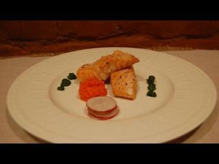 Высокая кухня. Жареный стейк из семги, с морковью, имбирем и травяным отваром.