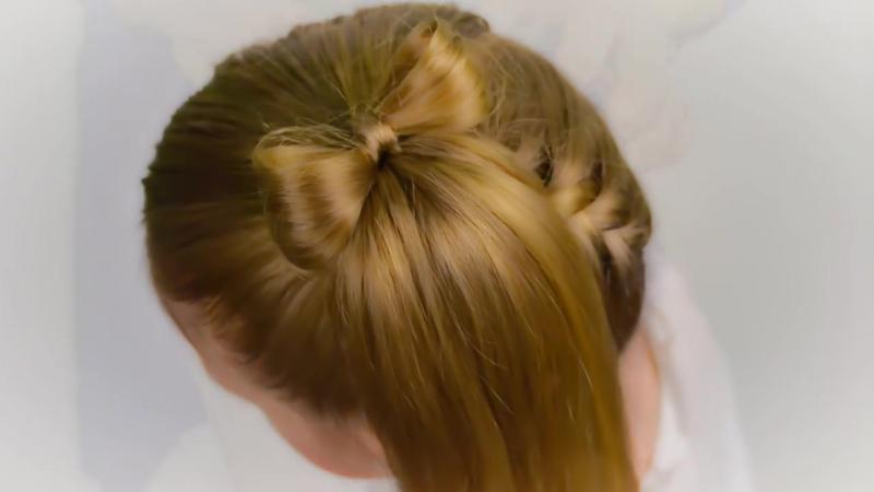 3 в 1_ СНИЗУ ВВЕРХ французская коса с бантом, хвостом или гулькой. Простая и быстрая прическа 31