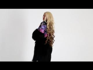 Пальто комбинированное с чёрной ламой
