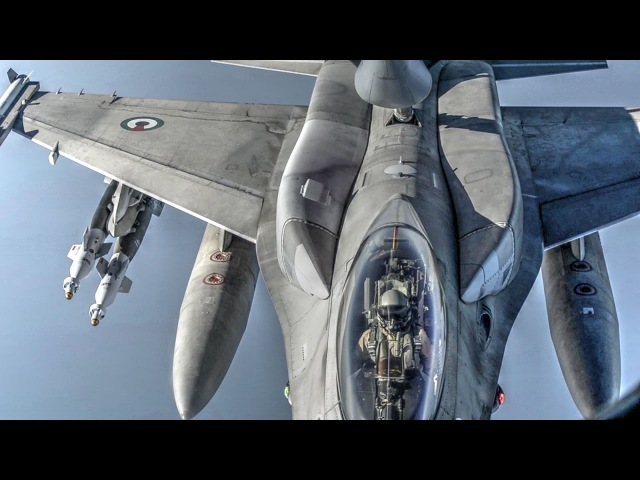 USAF KC-135 Refuels UAE F-16 Block 60 Desert Falcons