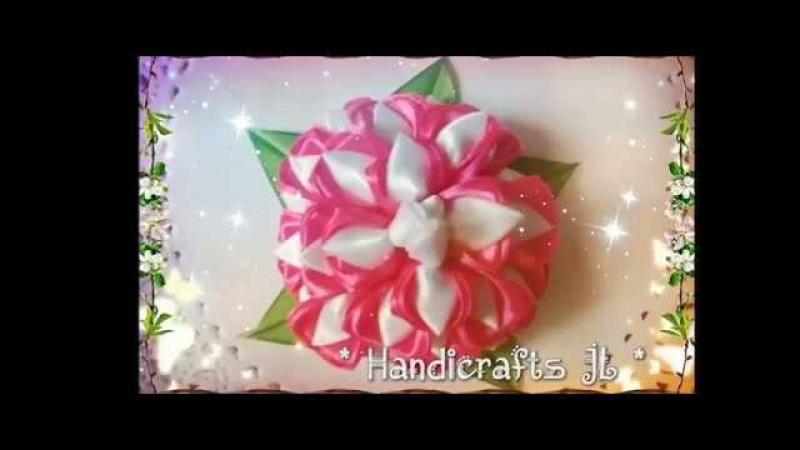 Flor de listón paso a paso/ crisantemo de listón/ ribbon flower step by step