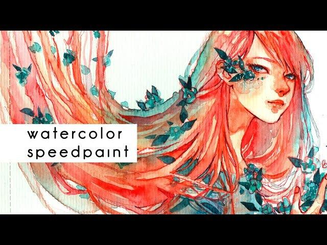 Red Watercolor Speedpaint