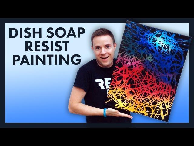 Dish Soap Resist Painting