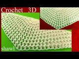 Chal chalina a Crochet en punto 3D panal o nido de abeja tejido tallermanualperu