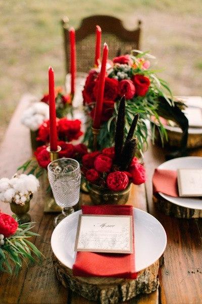 Страстный красный в свадебном стиле