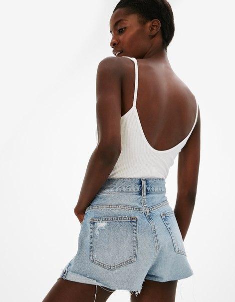Джинсовые шорты в винтажном стиле с карманами