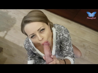 MAID GETS FUCKED IN KITCHEN  GETS CUM INSIDE PUSSY WITH CLOSE UP CREAMPIE