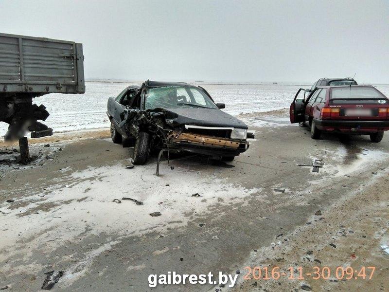 Тройное столкновение в Пинском районе: двое - в больнице